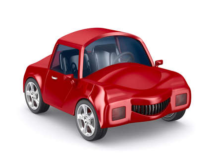 racecar: Red car on white background. Isolated 3D image
