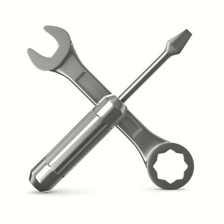 maintenance: Wrench and screwdriver on white background. Isolated 3D image