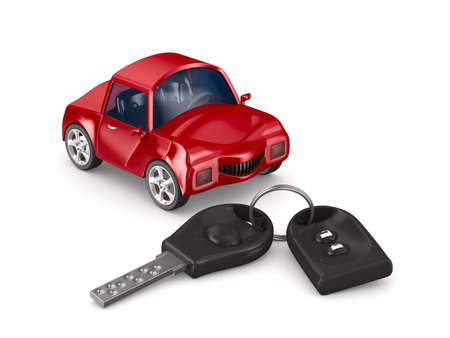 key ring: car and key. Isolated 3D image Stock Photo