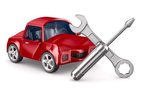car fix: Car-care centre on white background. Isolated 3D image