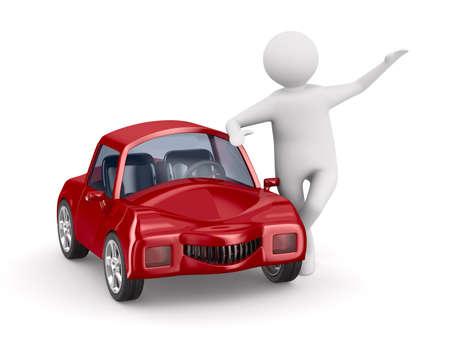 赤い車と男。分離の 3 D イメージ
