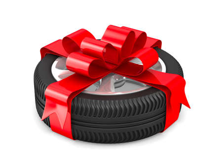 wrap wrapped: disk wheel on white background. Isolated 3D image