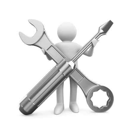 screwdriver: Man with wrench and screwdriver. Isolated 3D image Stock Photo
