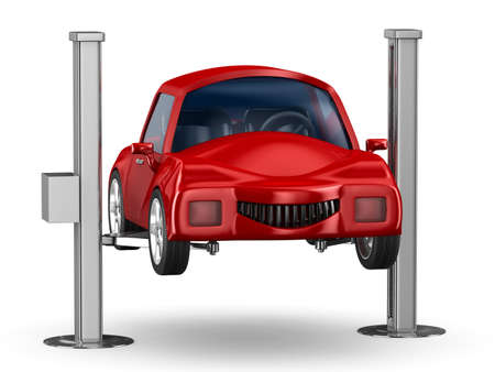 service lift: Car service. Isolated 3D image