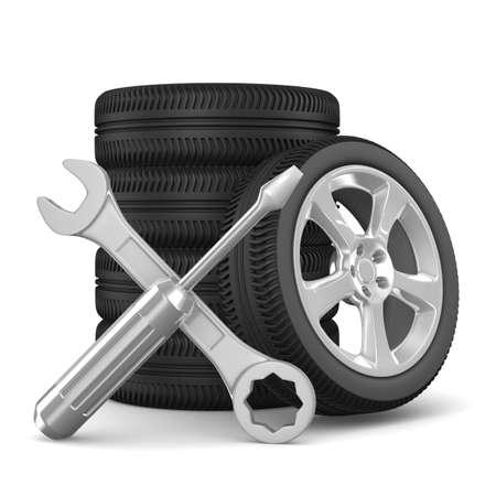 mecanico automotriz: Servicio de automóviles. Aislados imagen en 3D