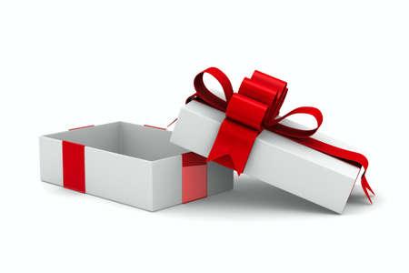 白のギフト ボックス。分離の 3 D イメージ