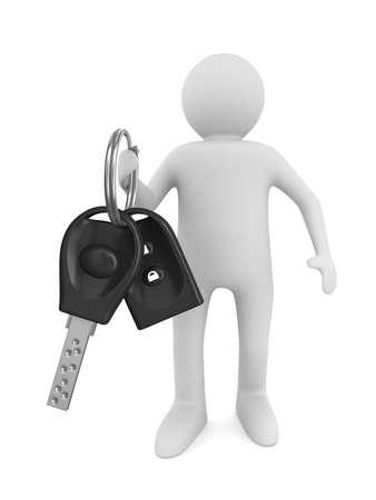 toegangscontrole: man met de auto sleutels. Geïsoleerde 3D beeld