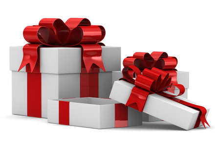 White gift boxes. Isolated 3D image Stock Photo - 11011343