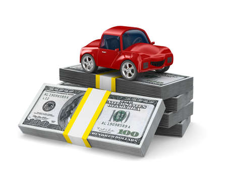 car bills: Red car on dollars. Isolated 3D image Stock Photo