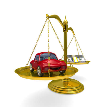 less: car and cashes on scales. Isolated 3D image