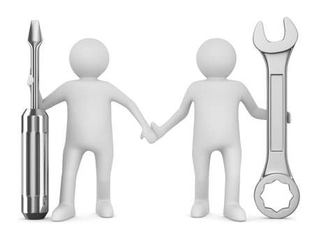 Two man with wrench and screwdriver. Isolated 3D image photo