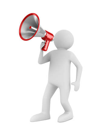 orator speaks in megaphone. Isolated 3D image Stock Photo - 11083928