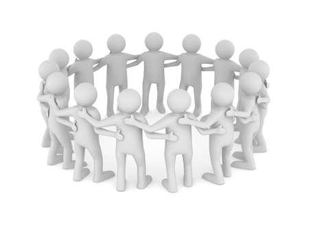 チームワークの概念図。ホワイト上の孤立した 3D 写真素材