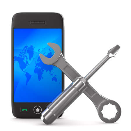 Phone repair on white background. Isolated 3D image Stock Photo - 11083947