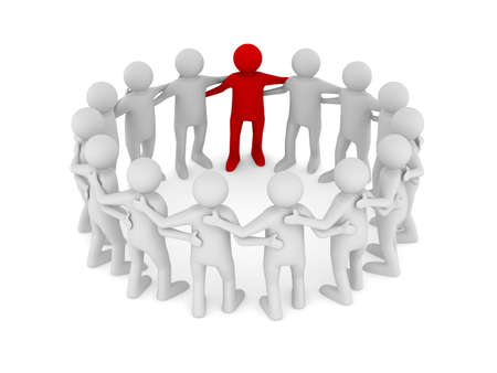 team leader: Conceptual image of teamwork. Isolated 3D on white Stock Photo