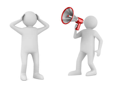 expostulate: orator speaks in megaphone. Isolated 3D image Stock Photo