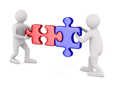 companionship: Two man with puzzle on white background. Isolated 3D image