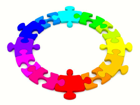 integrated: Puzzle on white background. Isolated 3D image