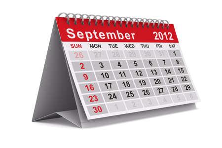 2012 年カレンダー。9 月。分離の 3 D イメージ