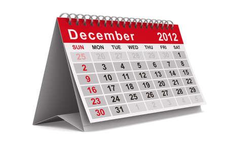 december kalender: 2012 jaar kalender. December. Geà ¯ soleerde 3D afbeelding Stockfoto