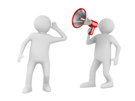 two men talking: orator speaks in megaphone. Isolated 3D image Stock Photo