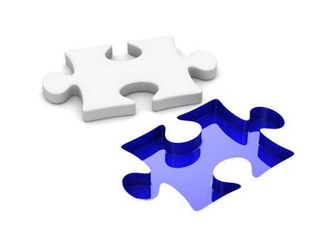 白い背景の上のパズルします。分離の 3 D イメージ