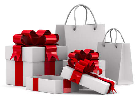 White gift boxes. Isolated 3D image photo