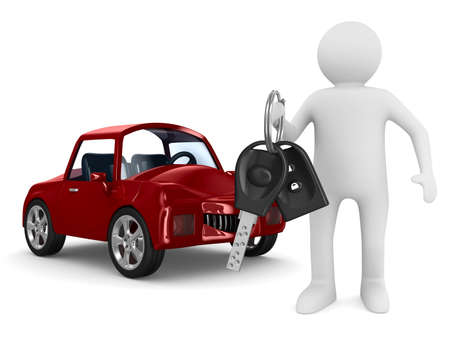 service car: man with automobile keys. Isolated 3D image