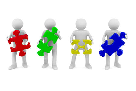 people puzzle: Conceptual image of teamwork. Isolated 3D on white Stock Photo