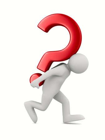 ホワイト上の質問を持つ男。分離の 3 D イメージ