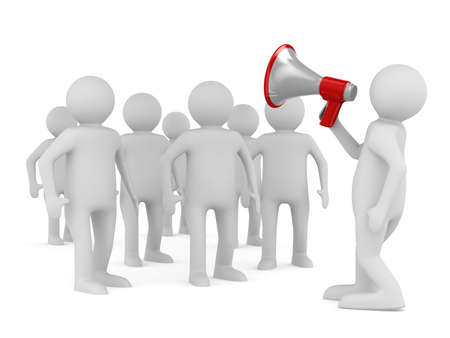orator: orator speaks in megaphone. Isolated 3D image Stock Photo