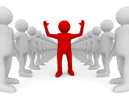 リーダーシップの概念図。ホワイト上の孤立した 3D