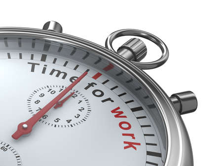 Time for work. Stopwatch on white background. Isolated 3D image photo