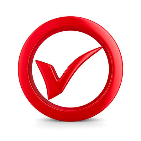 yes check mark: Symbol ok on white background. Isolated 3D image Stock Photo