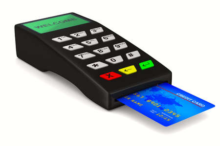 payment terminal on white background. Isolated 3d image photo