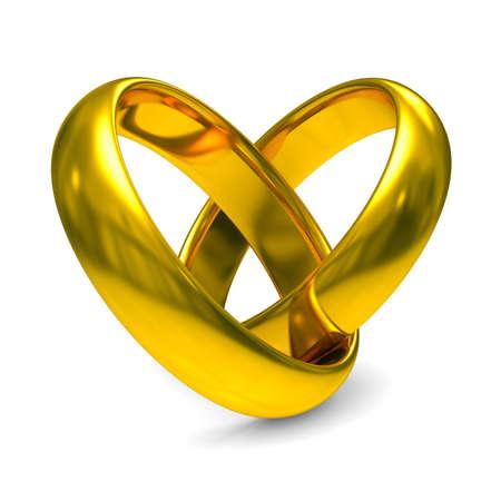 anniversaire mariage: Deux anneaux de mariage en or. Isolated 3D image