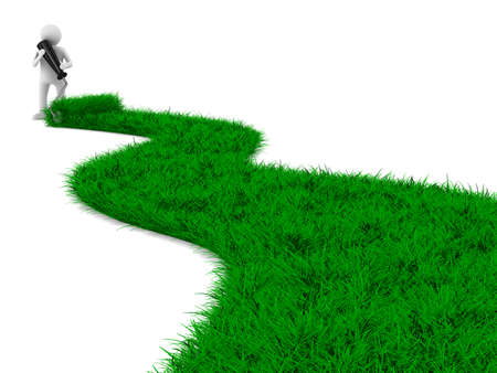 road from grass on white. Isolated 3D image 스톡 콘텐츠