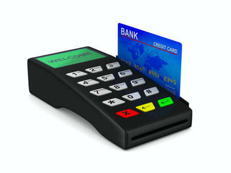 checkout button: payment terminal on white background. Isolated 3d image