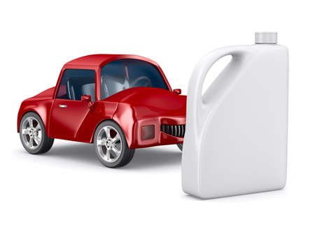 horsepower: Red car and oil canister on white background. Isolated 3D image