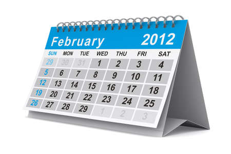 2012 year calendar. February. Isolated 3D image photo