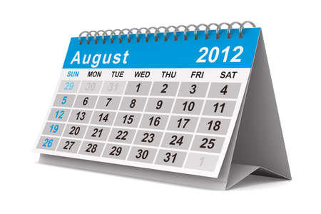 2012 year calendar. August. Isolated 3D image photo