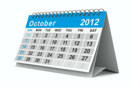2012 year calendar. October. Isolated 3D image photo
