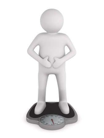 man on floor scales. Isolated 3D image photo
