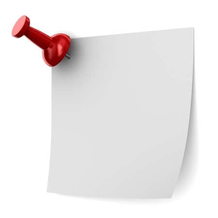 tack board: Red chincheta en el fondo blanco. Aislados imagen en 3D Foto de archivo