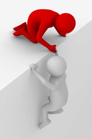 Aider dans une situation difficile. L'image 3D Banque d'images - 11340434