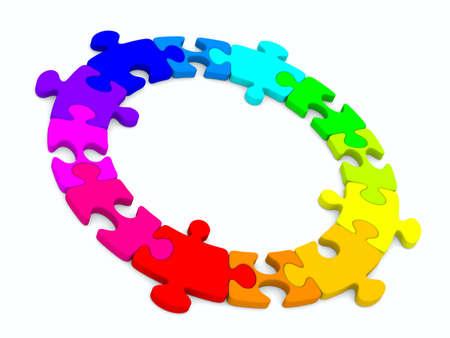 merge: Puzzle on white background. Isolated 3D image