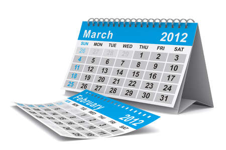 2012 year calendar. March. Isolated 3D image photo