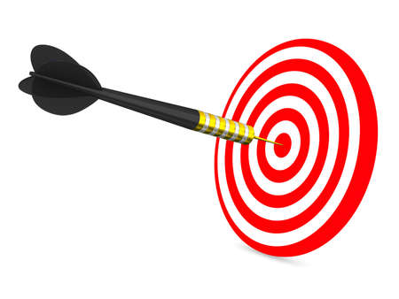 focus on the goal: Dart on a white background. Isolated 3D image