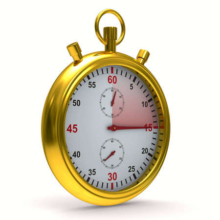 the end of time: Stopwatch on white background. Isolated 3D image