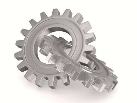 Two chrome gears on white background. Isolated 3D image photo